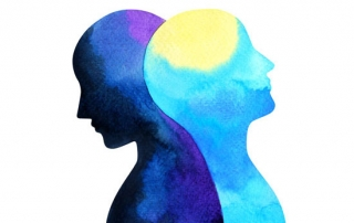 watercolor painting illustrating mental health with two heads leaning into each other in different shades of blue, yellow and purple - managing bipolar disorder and alcohol or drug addiction