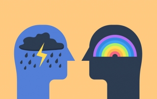 illustration of two heads - silhouettes - one with a storm inside their head and the other with a rainbow
