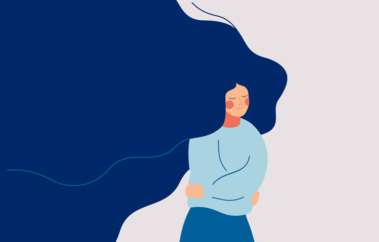 illustration of sad woman with flowing hair walking and slightly hugging herself - Emotional Intensity Disorder