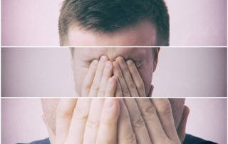 man covering his face - image is split three times - schizophrenia